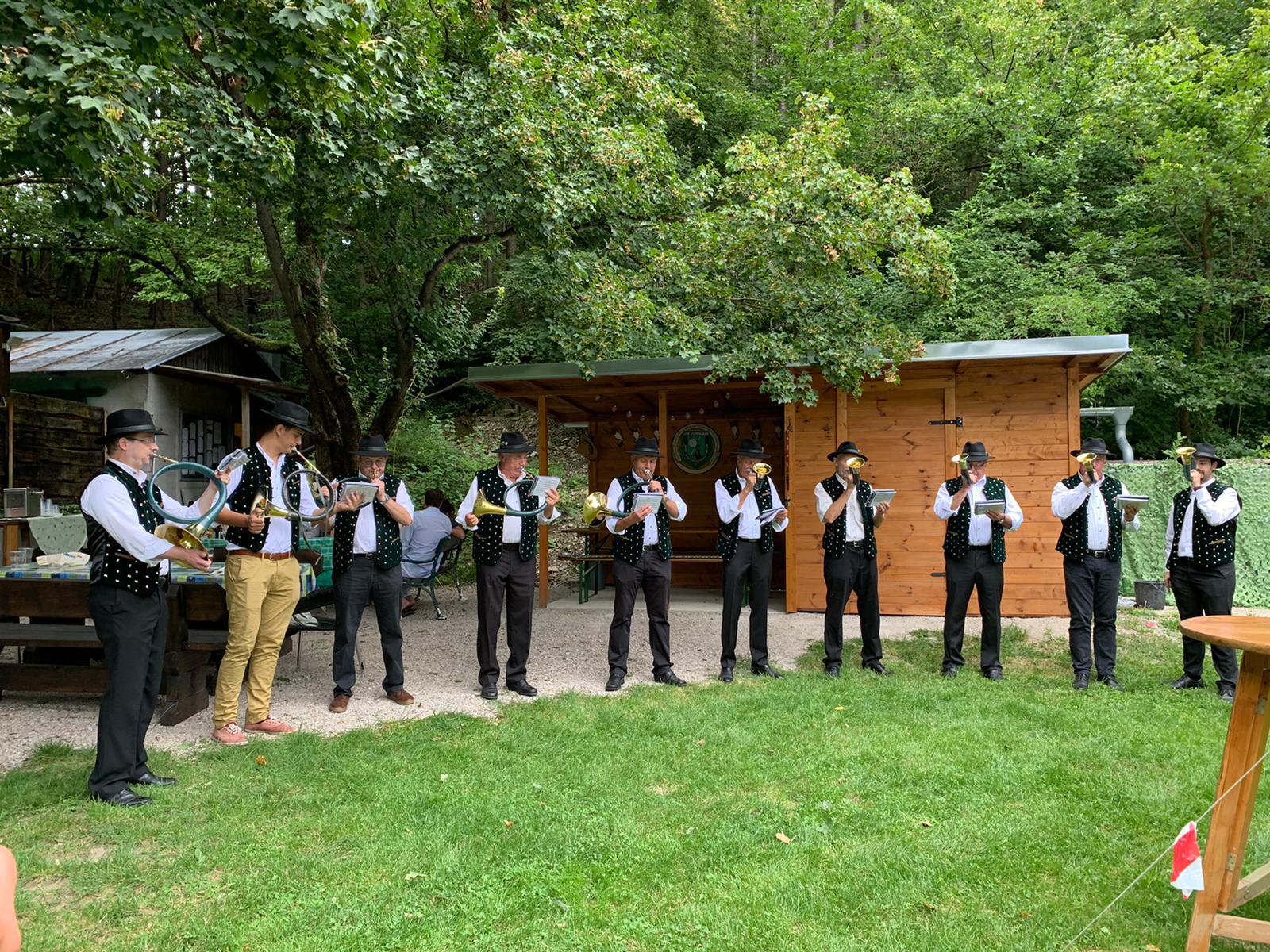 Seyringer Jagdhornbläser beim Sommerfest des JSK Eichenlaub 2020